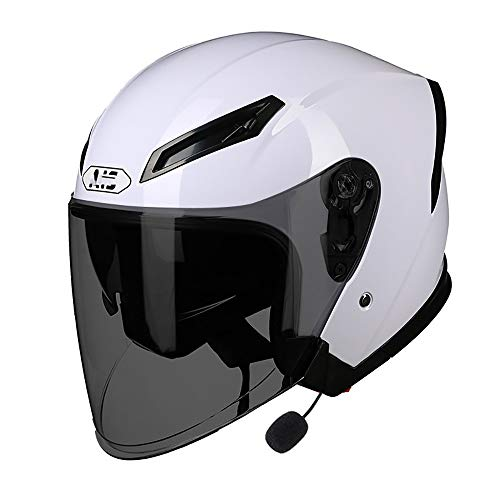 TBTBZXCV Bluetooth Open Face Motorcycle Helmet, 3/4 Motorcycle Helmet with HD Anti-Fog Lens DOT Approved Jet Motorbike Half Helmet for Scooter Bobber Chopper Cruiser Pilot Racing