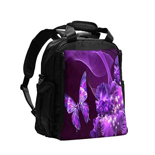 Mariposa púrpura de gran capacidad multifunción bolsa de pañales mamá papá bolsa de cuidado del bebé bolsa de pañales bolsa de enfermería