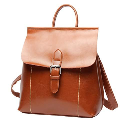 LUUFAN Vintage Oil Wax Leather Zaino Scuola Borsa da viaggio casual Daypack...