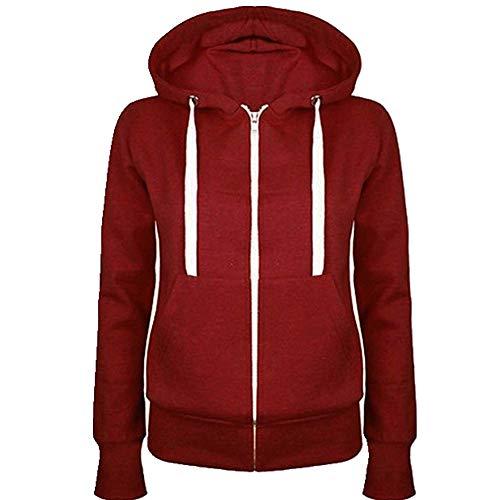 Damen-Sweatshirt, Hoodies, Reißverschluss, Herbst, Frühling, lässig, schwarz, mit Kapuze, langärmlig, Mantel Gr. L, rot