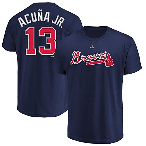Outerstuff MLB Youth Performance Team Color Player Name and Number Jersey T-Shirt (Medium 10/12, Ronald Acuña Jr Atlanta Braves)