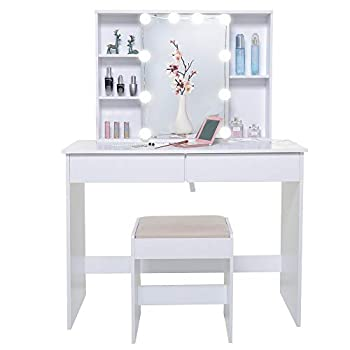 USIKEY Large Vanity Set with 1 Slide Rail Mirror & 10 Light Bulbs Makeup Tables with 5 Shelves Vanity Dressing Table with 2 Large Drawers and 1 Cushioned Stool for Bedroom Bathroom White
