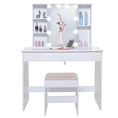 USIKEY Large Vanity Table Set with 1 Slide Rail Mirror & 10 Light Bulbs, Makeup Table with 5 Shelves, Dressing Vanity Tables with 2 Large Drawers, 1 Cushioned Stool for Bedroom, Bathroom, White