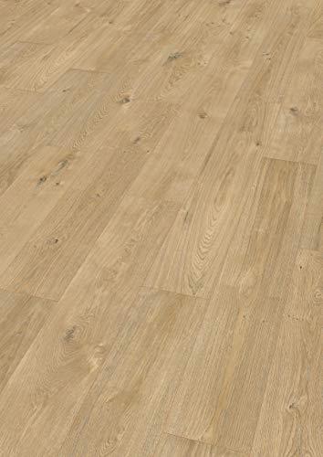 EGGER HOME Comfort Fußboden EHC001 Jacksonville Eiche natur (8 mm, 1,995m²) | authentische Holzoptik | Kork Laminat mit Trittschalldämmung | Einfache Verlegung durch CLIC It! System | Warm & leise