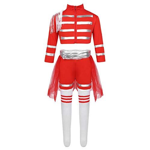 Freebily Kinder Mädchen Cheerleading Kostüm Uniform Jazz Dance Kostüm Modern Tanz Outfits Karneval Fasching Party Kostüm Rot 128-140/8-10 Jahre