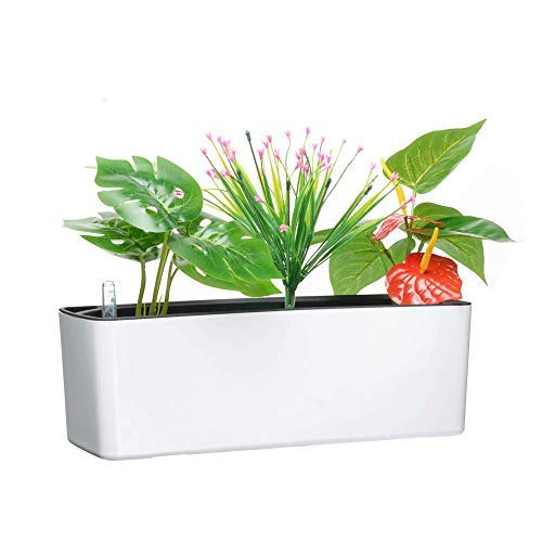 Elongated Self Watering Planter Pots Window Box with Coconut Coir Soil 5.5 x 16 inch Indoor Home Garden Modern Decorative Planter Pot for All House Plants Flowers Herbs (1, White(5.5'x16'))