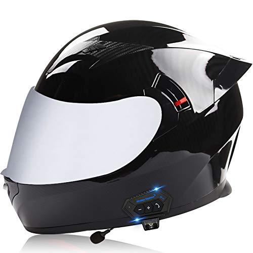 Casco Moto Bluetooth Adulto Con Doppia Visiera Antiappannamento,Caschi da Moto Microfono Integrato per La Risposta Automatica ECE Omologato S,L