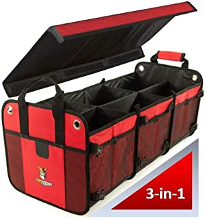 Tuff Viking 3-in-1 with Cover and Tie Down Straps | Large SUV Organizer | Large Truck Bed Organizer | for Trucks, Cars, SUV, Auto, Minivan, Jeep Accessories and Home (3-in-1 with Cover, Red)