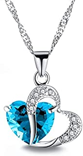 YangLu ZIMO,Heart Shaped Zircon Crystal Necklace Sweater Clavicle Chain(Purple) (Color : Light Blue)