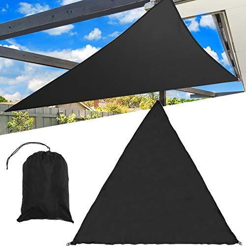 HXIANG Luifel zwart, schaduw, 3 / 5 m, zwaar zonnezeil, driehoekige afdekking voor buiten, voor de tuin, waterdicht, zonwering voor de auto, zomerdoek