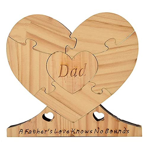 UOMIO Father'S Day Wooden Crafts, Heart-Shaped Detachable Wooden Ornament For Father'S Day, Handmade Wooden Heart Plaque Gift For Dad , Wooden Heart Keepsake, Presents For Dads From Daughters or Son