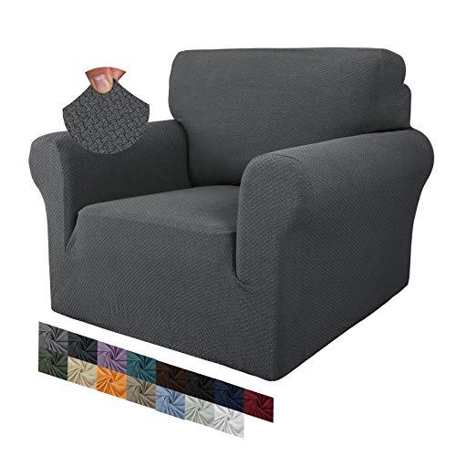 MAXIJIN Fodere per sedie creative jacquard per soggiorno, 1 pezzo fodera per sedia antiscivolo super elasticizzata con braccioli per cani Fodera per poltrona per divano (1 Posti, Grigio Scuro)