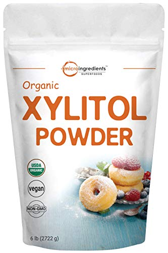 Micro Ingredients Organic Xylitol Sweetener (Xylitol Sugar Crystal Powder), 6 Pounds (96 Ounce), Natural Sweetener, Brown Sugar Substitute and Low Calorie, No GMOs and Diet Friendly