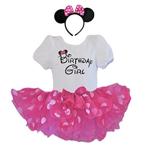 Birthday Girl T-Shirt with Polka Dot Tutu and Headband 3 PCs Set (Age 2, Fuchsia and White dots)