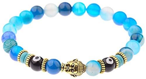 Pulsera de piedra, mujer, 7 chakra, perlas de piedra natural, cristal azul, elástico, Banco Banco, Buddha, joyería, reza, yoga, yoga, gimnasio, regalo difusor de la joyería de la joyería para pareja F