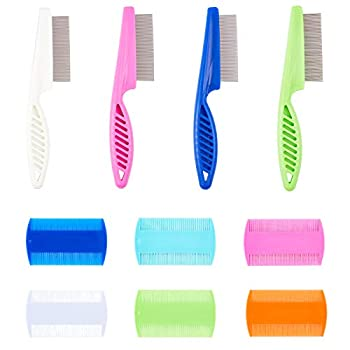 AHANDMAKER Pet Grooming Peignes à Cheveux à Dents Fines, 10 Pcs 2 Types de Peignes à Puces en Plastique Dents Durable Enlever Les Cheveux Flottants Peigner Les Cheveux Emmêlés Pellicules, 6 Couleurs