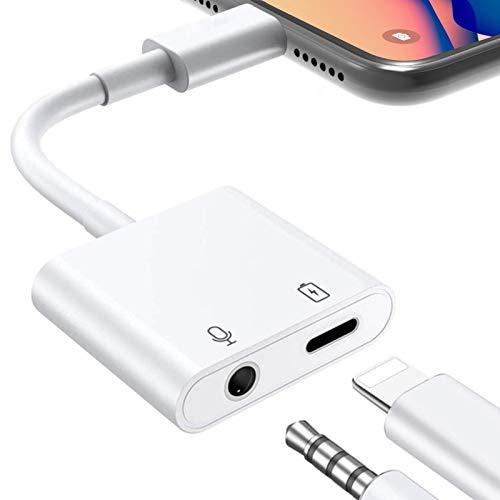 Adaptador de auriculares para iPhone 12 a conector jack de 3,5 mm, 2 en 1, cable auxiliar, divisor de auriculares, compatible con iPhone 12/11/XS/XS Max/X/XR/7/8
