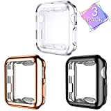 Henva Compatible with Apple Watch Case 38mm Series 3, Series 2, Series 1, Overall Protective Case Ultrathin TPU Cover Compatible for iWatch 38mm Series 3 2 1, 3 Pack, Black, Clear, Rose Gold