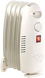 Sichler Haushaltsgeräte Öl-Radiator-Elektroheizung mit 5 Rippen und Thermostat, 500 Watt