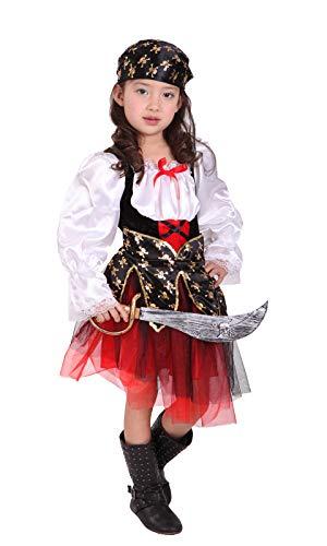 GEMVIE Déguisement Pirate Fille Costume Buccaneer Robe Tutu pour Fille 4-12 Ans Capitaine Jack Cosplay Halloween Toussaint Carnaval Soirée (7-9 ans)