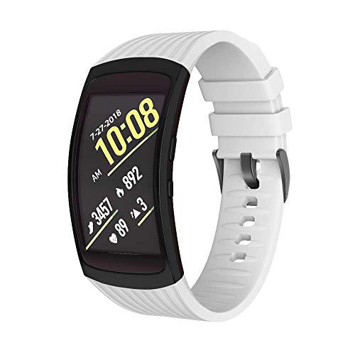 NotoCity Armband für Samsung Gear Fit 2 /Gear Fit 2 Pro, Quick-Fit Silikon Ersatz Armbänder, Mehrfache Farben (Weiss,S)