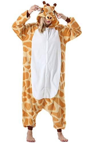 Pijama Animal Entero Unisex para Adultos con Capucha Mujer Hombre Cosplay Pyjamas Ropa de Dormir Traje de Disfraz para Festival de Carnaval Halloween Navidad Jirafa para Altura 148-187cm
