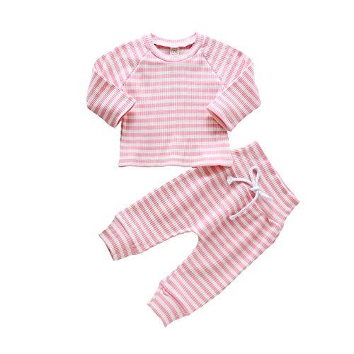 Neugeborenes Baby gestreifte Langarm Rundem Hals Oberteile und Hoher Taille Hose, Mädchen Junge Baumwollkleidung Kinder Herbst Winter Weiche warme Kleidung Set