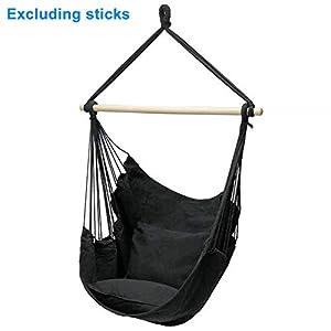 Vrsupin0 - Silla de hamaca con cojín, silla colgante de cuerda, silla hamaca interior exterior para niños bebé adulto, Negro , talla abierta