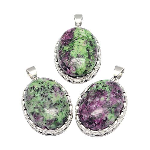 NBEADS Stone Pendants, 10 Pcs 21x30mm Oval Natural Ruby in Zoisite Pendant Charms with Brass Findings for Jewellery Necklace Bracelet Gift Making