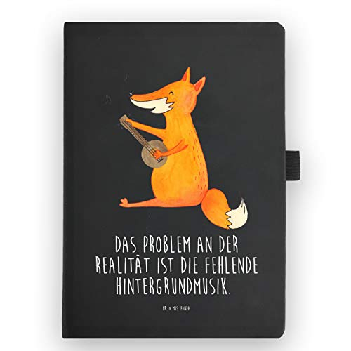 Mr. & Mrs. Panda Notizblock, Tagebuch, DIN A5 Kunstleder Notizbuch Fuchs Gitarre mit Spruch - Farbe Transparent