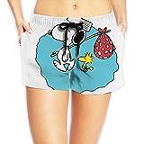 Anime de dibujos animados Snoopy mujer impreso playa pantalones cortos con cordón Junta femenina pantalones traje de baño fondos playa Boardshort Blanco blanco L