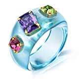 AllenCOCO Retro Resin Acrylic Cubic Zirconia Simulated Diamond Ring for Women Girls