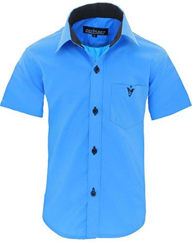 GILLSONZ A70vDa Kinder Party Hemd Freizeit Hemd bügelleicht Kurz ARM 7 Farben Gr.86-158 (140/146, Türkis)