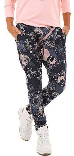 Mädchen Baggy Hose mit ZIP Sportshose HERBST Frühling Sommer Schule Camuflage Military Hosen oder Einfarbig 116-158 (140, Blau mit Blumen)