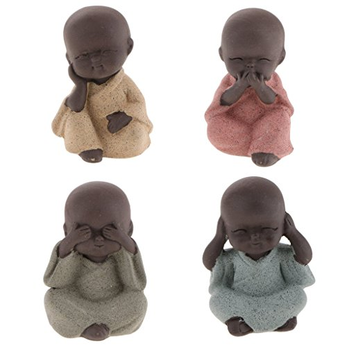 FRECI 4pcs Mini Monk Ornaments Buddha Statue Tea Pet Zen Garden Tea Tray Decoration Crafts