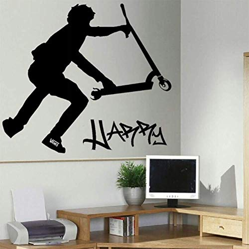 Custom Muur Stickerpersonalised Stunt Scooter Muur Transfer Sticker van de Kunst Poster Decal-You 50X79Cm,Black