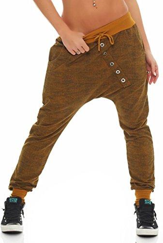 """Malito Pantaloni Boyfriend en el """"Tejer"""" Design Baggy Aladin Bombacho Sudadera 7398 Mujer Talla Única (Gris)"""