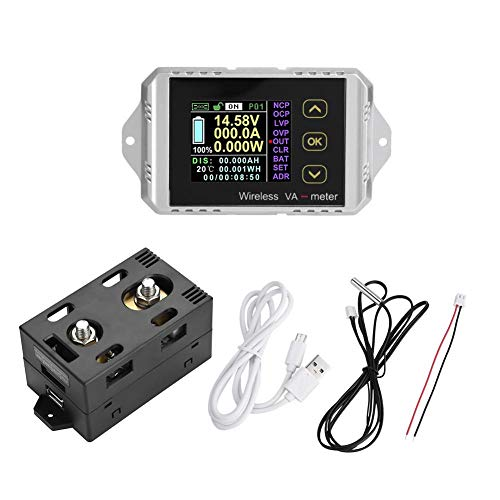 Akozon voltímetro multímetro CC probador inalámbrico del voltaje del metro del poder del amperímetro de la corriente del LCD de la pantalla color(VAT-1100, 0-100A 0-100V)