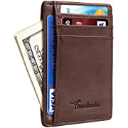 Travelambo Front Pocket Minimalist Leather Slim Wallet RFID Blocking Medium Size(VT Coffee P)