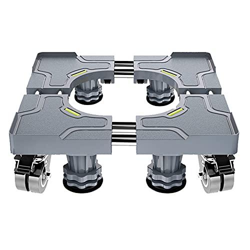 GEREP Carrello porta Lavatrice Mobile Regolabile Multifunzionale Piedistallo Supporto per Elettrodomestici, H9-13cm Regolabile / 4 feet + 4 wheels / W52 / 66cm