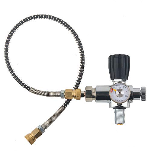 IORMAN Paintball CO2 Tank Compressed Air DIN Valve Gauge & Fill Station, 300bar/4500psi High Pressure, 7/8-14 UNF Male Thread, with 24