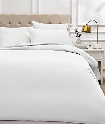 Amazon Basics - Juego de funda nórdica de satén de algodón de 400 hilos - 260 x 220 cm/ 50 x 80 cm x 2, Blanco
