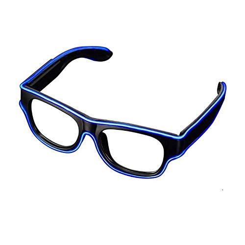 Glaray Kabellos LED Leuchtend Brille USB Wiederaufladbar LED Light Up Brillen Rave Party Leuchtende Sonnenbrille (Dunkelblau)