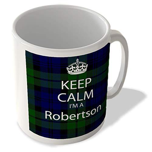 McMug Taza con texto en inglés 'Keep Calm I'm a Robertson Scottish Clan Tartan'