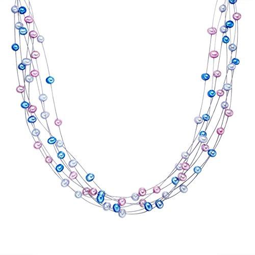 Valero Pearls Damen-Collier 925 Silber rhodiniert Süßwasser-Zuchtperle in verschiedenen Längen - 60923015