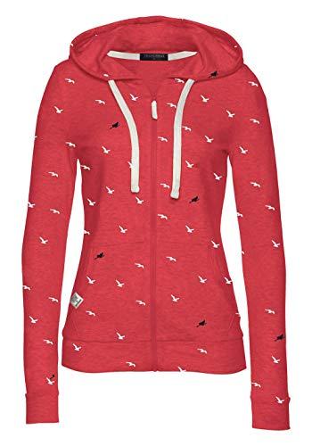 TrendiMax Damen Sweatshirt Kapuzenpullover Jacke mit Kapuze Hoodie Pullover Sweatjacke Kapuzenjacke (Koralle, M)