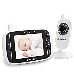 HelloBaby Wireless Video Baby Monitor with Digital Camera, Night Vision Temperature Monitoring & 2 Way Talkback System (HB32)