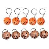 LIOOBO 20 Pcs Porte-Clés de Sport Balle Porte-Clés Souvenirs Porte-Clés Cadeau d'anniversaire pour Enfants Adolescents Hommes Garçons Sac à Dos (Basket-Ball Jaune Brun)