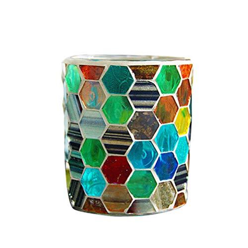 Garneck - 1 portavelas de cristal con diseño de mosaico, portavelas de cristal, portavelas de cristal Cristal para fiestas de boda y decoración para la casa.