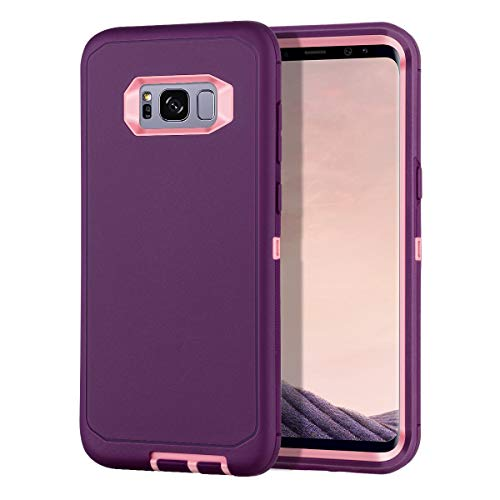I-HONVA for Galaxy S8 Plus Case Shockproof Dust/Drop Proof 3-Layer Full Body Protection [Without Screen Protector] Rugged Heavy Duty Durable Cover Case for Samsung Galaxy S8 Plus, Purple/Pink